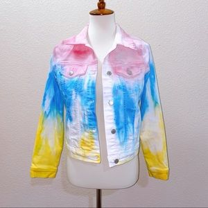 NWOT Just USA Tie Dye Jean Jacket Size Small